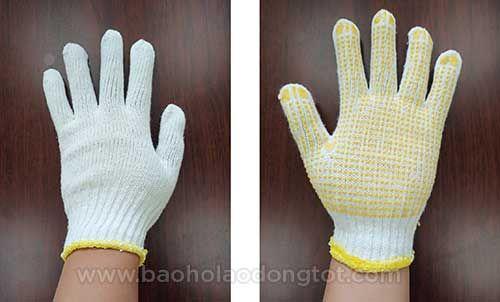 găng tay sợi ngà phủ hạt nhựa